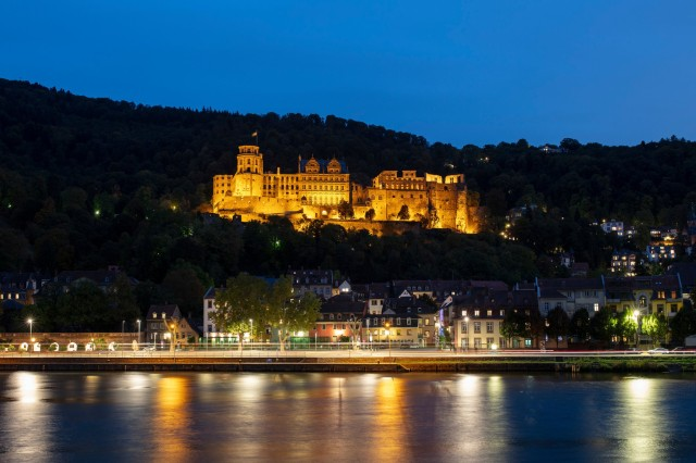 A view of Schloss Heidelberg from across the Neckar River.